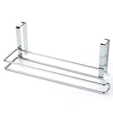 26x9.1x8.6cm Stainless Steel Paper Holder Roll Towel Rack Hanger Over Cabinet Door