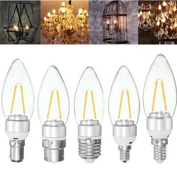 E27 E14 E12 B22 B15 2W Sliver Filament Incandescent Candle Light Bulb Lamp Non-Dimmable 220V