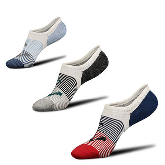 Men Cottton Stripe Low Cut No Show Sport Ankle Socks