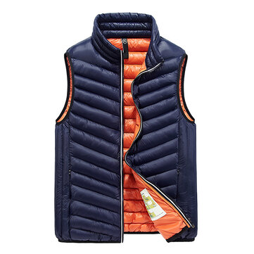 Fashion Casual Sport Stand Collar Winter Thick Warm Slim Fit Insulated Vest for Men
