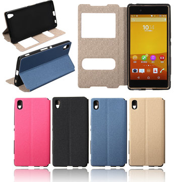 Luxury Dual Window Flip PU Leather Case PC Hard Cover Stand For Sony Xperia Z4