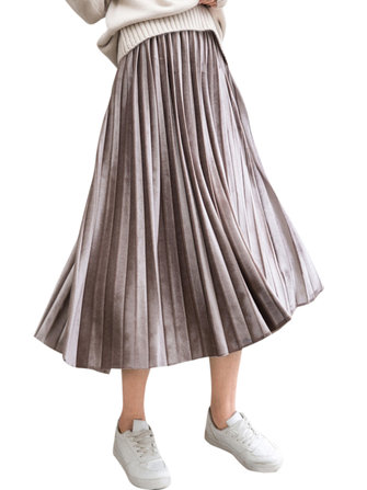 S-5XL Casual Women Basic Gold Velvet Pleated Skirts