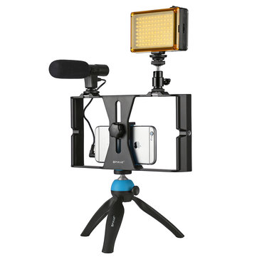 PULUZ PKT3023 Smartphone Video Rig LED Studio Light Video Shotgun Microphone Mini Tripod Mount Kits with Cold Shoe Tripod Head for iPhone Galaxy Huawei Xiaomi for HTC for LG for Google Smartphones