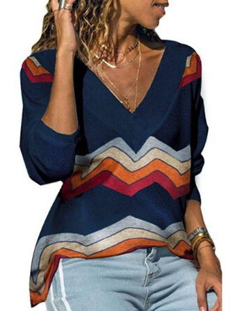 Women Casual Stripe V Neck Long Sleeve T-shirts