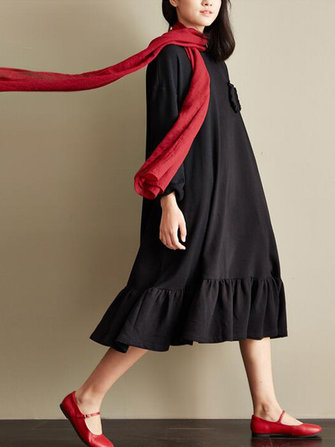 Casual Women Side Pockets Flouncing Ruffled Long Sleeve Dress