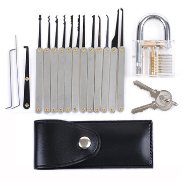 DANIU Transparent Practice Padlock with 12pcs Unlocking Lock Picks Set Key Extractor Tools