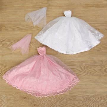 Pink White Princess Gown Wedding Dress For 30cm Dolls Kids Play Toy