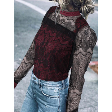 Lace Patchwork Hollow Out Long Sleeve Women Bottom T-Shirts