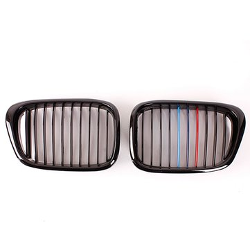 Front Black Wide Kidney Grille Grill For BMW E39 525 528 530 535 M5 1997-2003