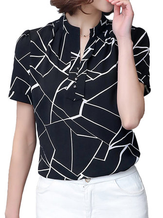 Elegant Women Geometric Printed Pleated Slim Work Party Blouse