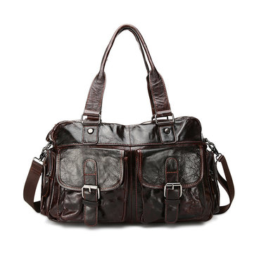 JOYIR Men Wax Oil Skin Handbag Fashion Casual Shoulder Bag Well-designed Handbag