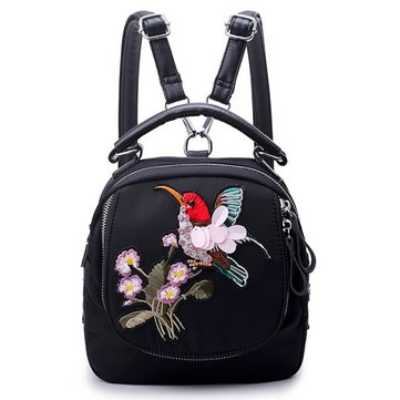 Women Oxford Embroidery Functional Handbag Backpack Shoulder Bag