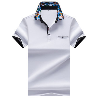 Summer Mens Camouflage Printed Collar Polo Shirt Breathable Cotton Short Sleeve Casual Tops