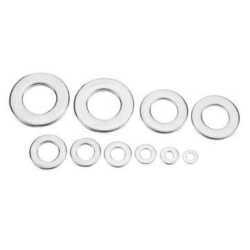 Suleve™MXSW1 400Pcs 304 Stainless Steel Flat Washer Round Assortment Set M2/2.5/3/4/5/6/8/10