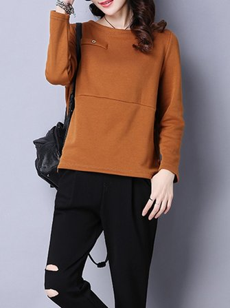 Simple Style Women Long Sleeve Velvet Casual Warm T-shirt