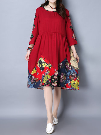 Casual Women Slim Floral Long Sleeve Round Neck Midi Dress