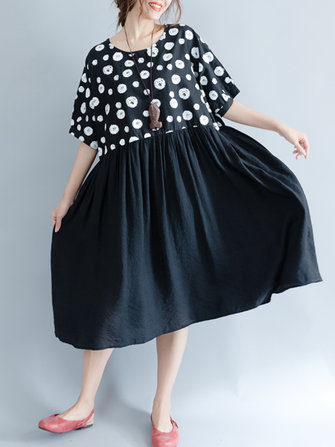 Vintage Women Polka Dots Patchwork Short Sleeve Dresses