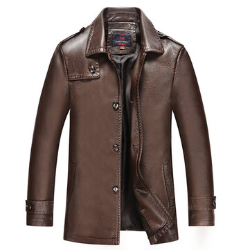 Mens Plus Size PU Leather Jacket Lapel Solid Color Warm Slim Fit Coats