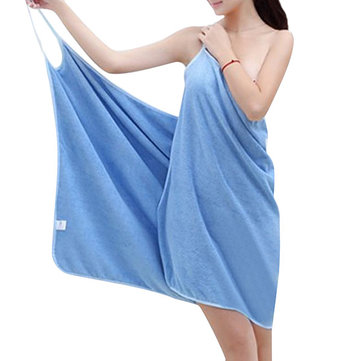 Woman Microfiber Paghetti Straps Bath Dress
