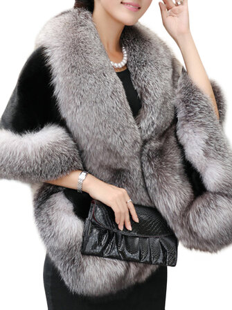 Elegant Women Solid Color Batwing Sleeve Faux Fur Shawl Cloak