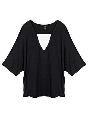 Loose Women Fake Two-piece Patchwork Batwing Sleeve T-shirt
