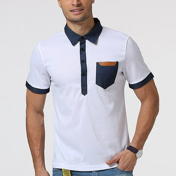 Mode Personnalité Denim Patchwork Pocket T-shirts Hommes Lapel Collar Short Sleeve T-shirt