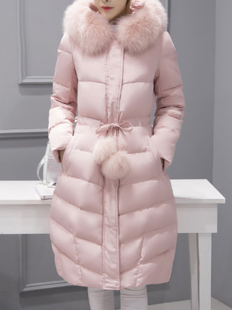 Casual Women Fur Collar Pockets Hooded Down Coats