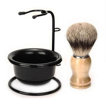 Conjunto de barbear gotejamento escova 3 em 1 dos homens ficar + caneca tigela de plástico pêlos de texugo escova +