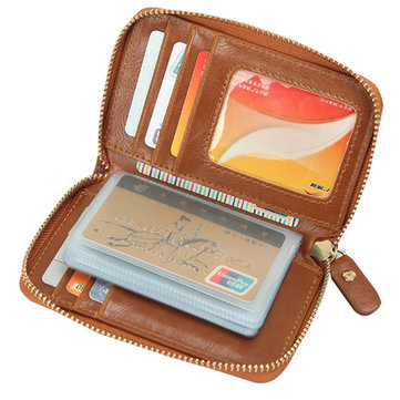Retro Zipper Card Holder PU Leather Business 22 Name Card Case Portable Short Wallet