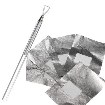 Stainless Steel Nail Polish Pusher Remover + 50Pcs Aluminous Foil Soak UV GEL Cleaner Tool