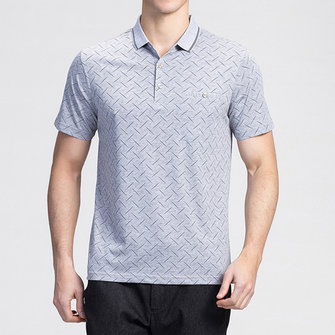 Mens Geometric Printing Loose Thin Comfy Golf Shirt