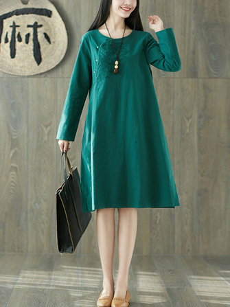 Women Vintage Cotton Embroidered Pocket Dress