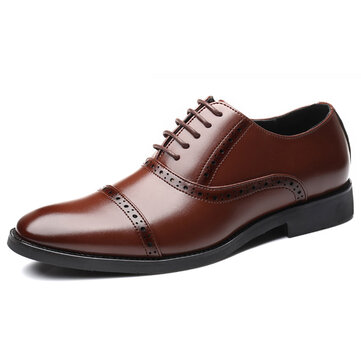 Men Brogue Carved Business Oxfords