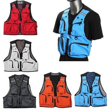 Multi maglia tasche pesca maglia caccia mens giacca tempo libero all'aria aperta