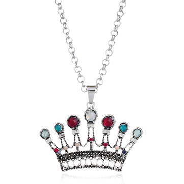 Cheap Ethnic Antique Silver Colorful Crown Pendant Necklaces
