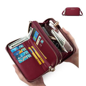 Pierreloues Women Multi-pockets 8 Card Slots Casual Wallet Phone Bag Crossbody Bag