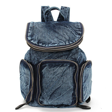 Women Multi-pocket Vintage Denim Backpack Sports Travel School Backpack