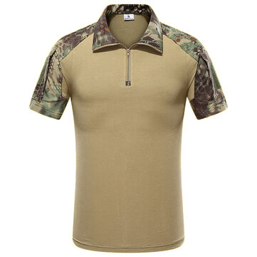 Outdoor Bionic Multicolor Camouflage Tactics T-shirts Men's Quick Drying Lapel Casual Sports Tops