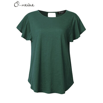 L-5XL Casual Women Lotus Sleeve Back Hollow Solid T-shirts