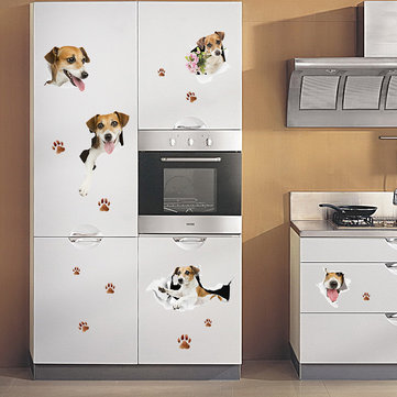 Buy Creative Cartoon 3D Cute Dog PVC Broken Wall Sticker DIY Removable Decor Waterproof Wall Stickers Household Home Wall Sticker Poster Mural Decoration for Bedroom Living Room Wardrobe Refrigerator for $4.99 in Banggood store