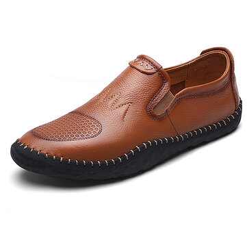 Casual Slip On Outdoor Men Oxfords Shoes In Leather