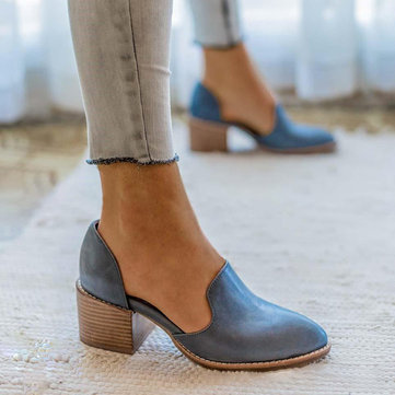 US Size 5-11 Chunky Heel Pumps Casual Slip On Shoes