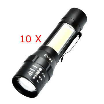 Original 10pcs XANES T6 4Modos Front + Side Light USB recargable con zoom Mini linterna pesca Lámpara