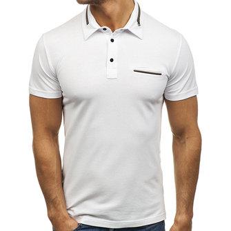 MänsCasualFakePocketKortärmadGolf Shirt Fashion Zippered Dekorativa Lapel Toppar