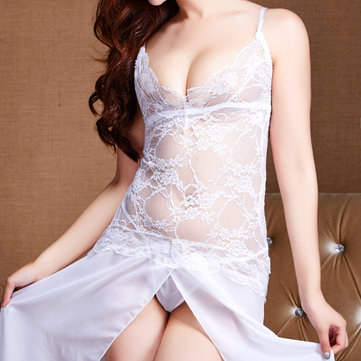 Plunge Lace Floral See-through Sleepwear Sexy Bodysuit Nightdress