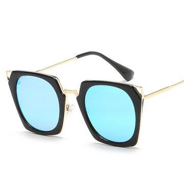 Women Unisex UV400 Cat Eye Sun Glassess Large Metal Frame Outdooors Sunscreen Glasses