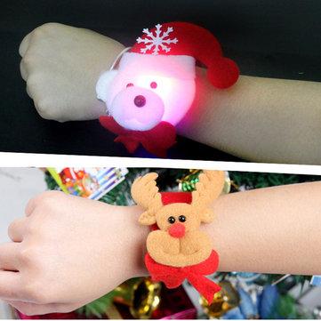 크리스마스 박수 LED 가벼운 머리띠 밴드 슬랩 팔찌 크리스마스 파티 재미 산타 크리스마스 선물