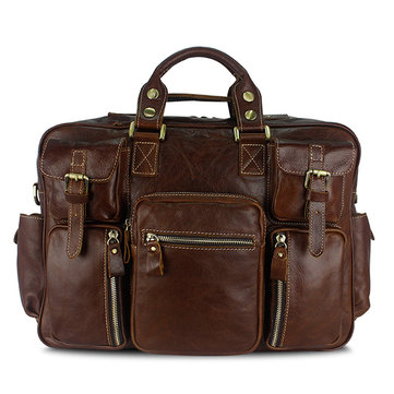 Men Multifunction Business Bag Genuine Leather Large Capacity Handbag Travel Bag