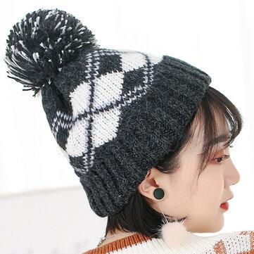0b707bbf Women Winter Plaid Ski Knit Beanie Hat Thicken Windproof Earmuffs Skull Cap  with Hairball