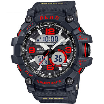 READ R90001 Dual Display Digital Watch Chronograph Waterproof Alarm Men Quartz Wrist Watch